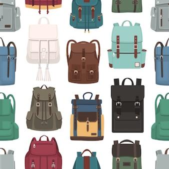 トレンディなバックパックと色のシームレスパターン