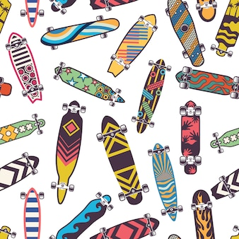 Colored seamless pattern with various skateboards. skate board for skateboarding
