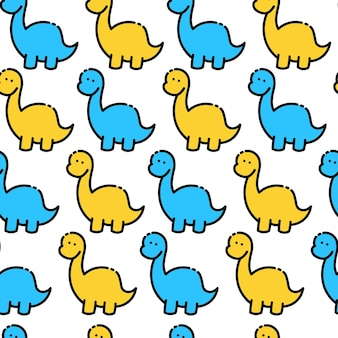 Colored seamless repeating childrens pattern with cute dinosaurs for fashion clothes, fabric.