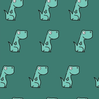 Colored seamless repeating childrens pattern with cute dinosaurs for fashion clothes, fabric