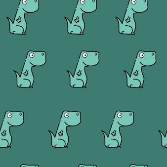 Цветной бесшовный повторяющийся детский рисунок с милыми динозаврами для модной одежды, ткани