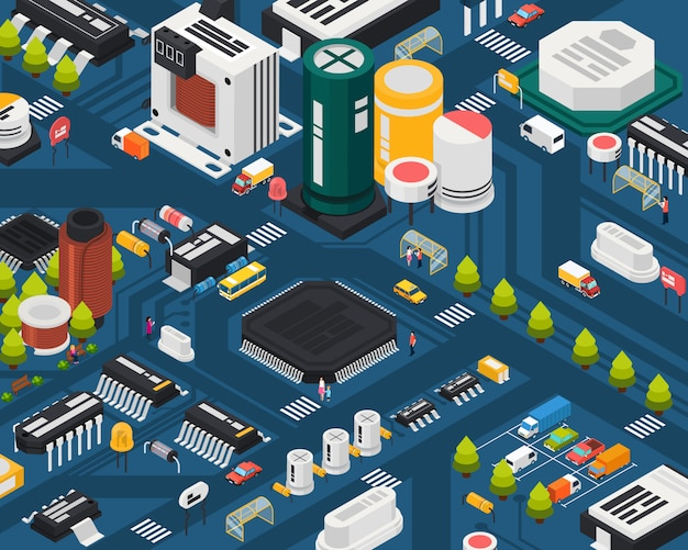 Colored semiconductor electronic components isometric city concept with different elements combined in city