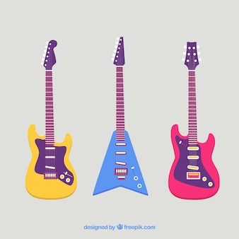 Colored set of electric guitars in flat design