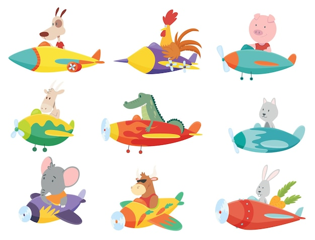 Colored set of kids transport with cute little animals flying on planes.