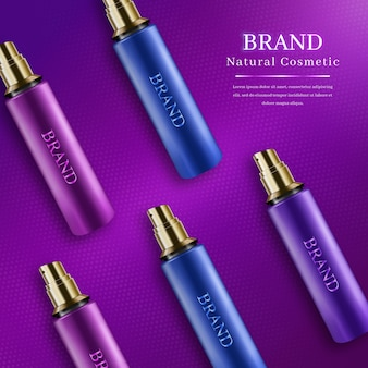 Colored set of realistic cosmetics bottles