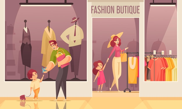 Цветная композиция магазина одежды, люди проходят мимо и внутри магазина