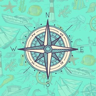 Colored and sketched compass on sea elements