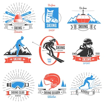 Colored skiing vintage logo set