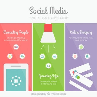 Colored social media banners