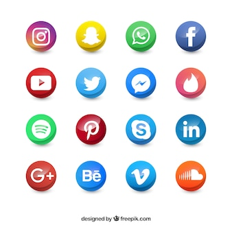 Colored social media circle icons