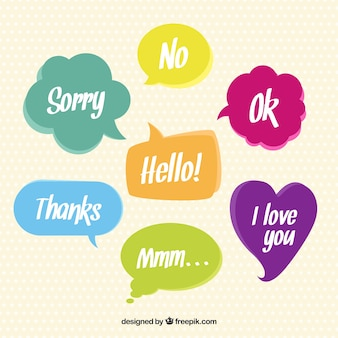 Colored speech bubbles with words