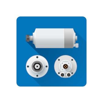 Цветной шпиндель водяного охлаждения электродвигатель под разными углами иллюстрации значок длинная тень округлый квадрат фон