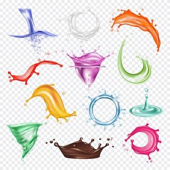 色付きの水しぶき。液体ペイントまたはフレッシュジュース赤オレンジ緑青流れる水しぶきの写実的なテンプレート。リキッドペイントスプラッシュ、ジュースドロップ、新鮮なイラスト
