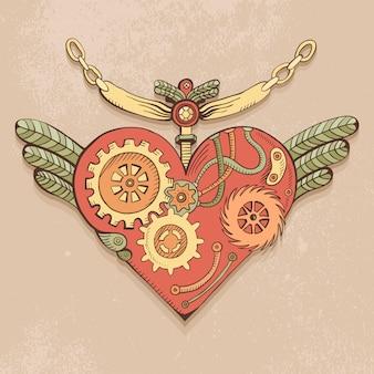 컬러 Steampunk 심장, 낙서 그림 프리미엄 벡터
