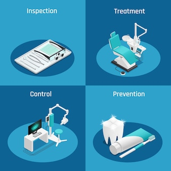 Colored stomatology dentistry isometric icon set with inspection treatment control and prevention descriptions vector illustration