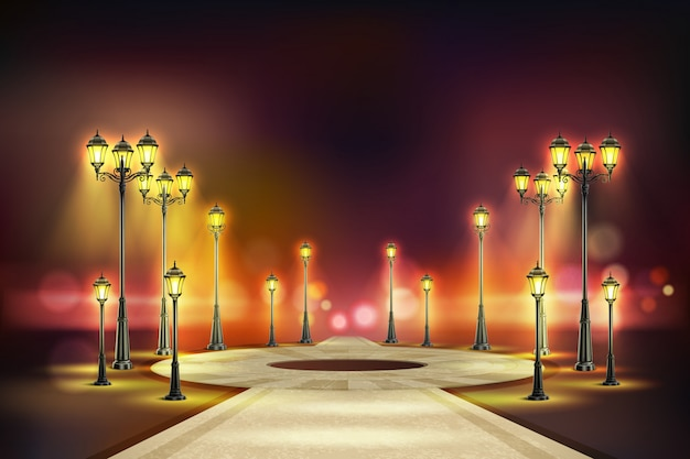 Colored street lights realistic composition quiet night street with yellow retro lights  illustration