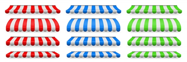 Colored striped awnings set for shop, restaurants.