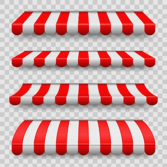 Colored striped awnings set