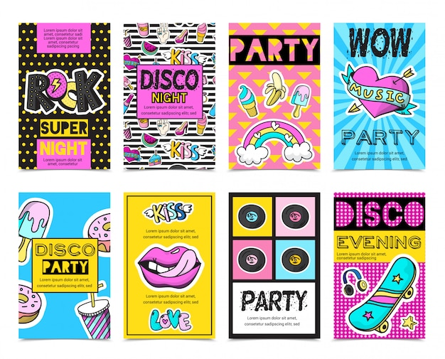 Colored stylish fashion patch badges banner set