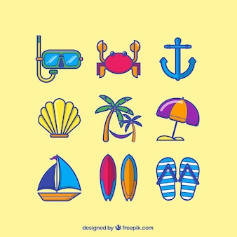 Colored summer icons