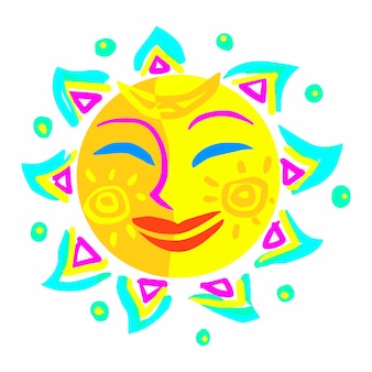 顔の色の太陽。春とカーニバルのシンボル。漫画スタイルの楽しみのベクトル