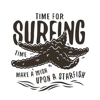 여름 인쇄를 위해 해안에 있는 불가사리의 컬러 서핑 인쇄. 벡터 일러스트 레이 션 하와이 디자인