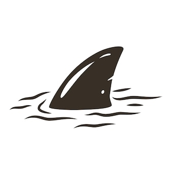Colored surfing print of shark fin and surf board on waves. vector illustration hawaii summer t-shirt design