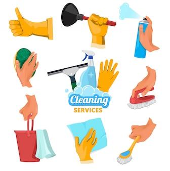 Цветные символы для уборки. руки держат разные инструменты