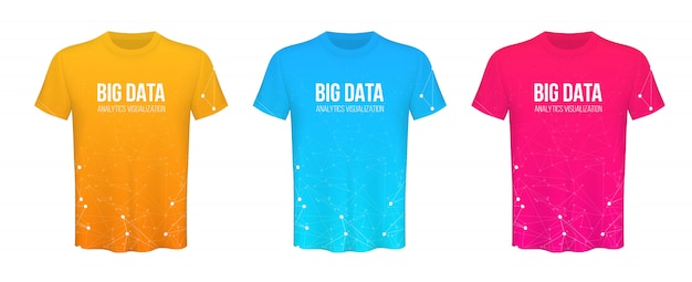 Colored t-shirts advertising template