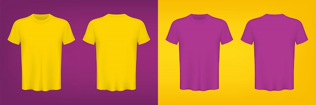 Colored t-shirts blank for graphic design template