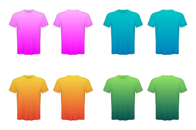 Colored t-shirts blank mockup