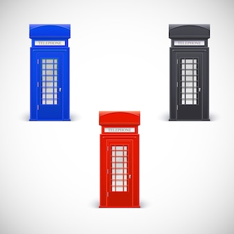 Colored telephone booths, londone style.  isolated on a white background
