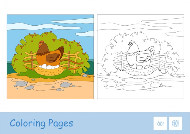 Colored template and colorless contour image of brood chicken sitting on eggs in nestle on countryside farm bird yard with garden background. domestic animals preschool kids coloring book.