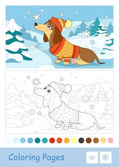 Colored template and colorless contour image of a dog in winter clothes playing with snowflakes on white background. wild animals preschool kids coloring book illustrations and developmental activity.