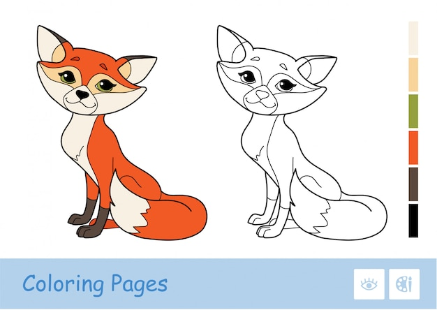 Colored template and colorless contour image of a mother fox isolated on white background.