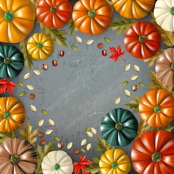 フレームベクトル図で結合されたさまざまな色とサイズのカボチャと色の感謝祭の日の背景
