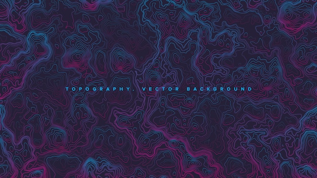 Colored topographic contour map retrowave abstract background