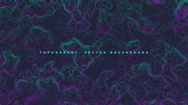 Colored topographic contour map vaporwave abstract background