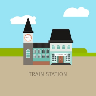 Colored train station building