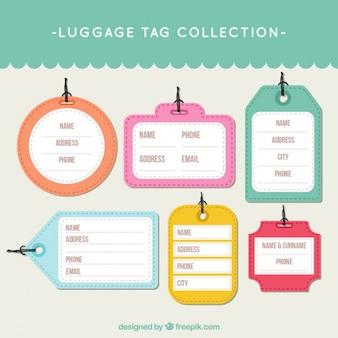 Colored trip tags in flat design Premium Vector