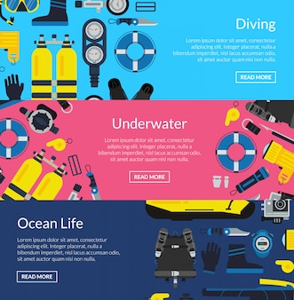 Colored underwater diving horizontal banner poster templates collection