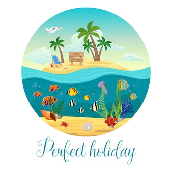 Colored underwater world island with big round and perfect holiday description