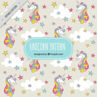 Colored unicorn with stars pattern