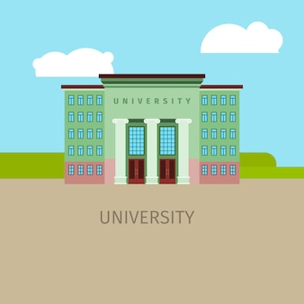 Colored university building illustration