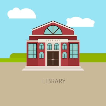 Colored urban municipal library building