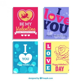 Colored valentines day cards pack