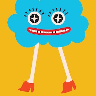 만화 평면 디자인 손으로 그린 추상 모양 만화 캐릭터에 색된 벡터 illustartion 포스터