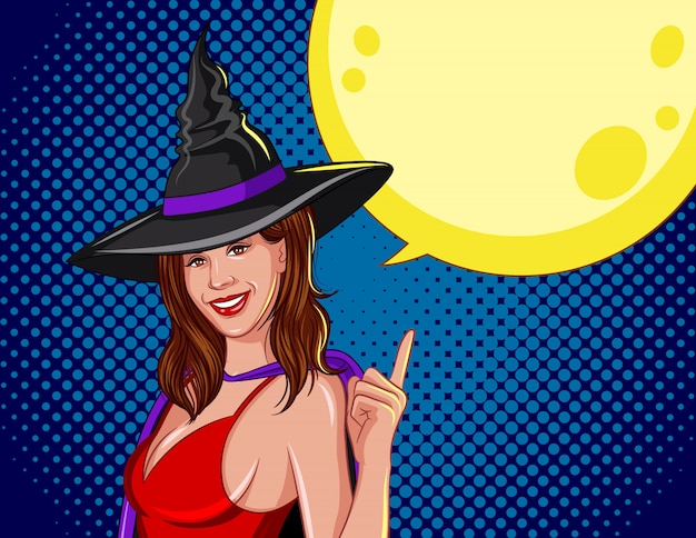 Colored vector illustration for halloween. the witch with a moon behind.