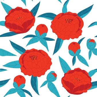 色付きのベクトルのシームレスなパターン。白い背景の上の青い葉と赤い花。手描きの牡丹。テキスタイルの花飾り