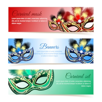 Colored venetian carnival mardi gras colorful party masks banner template